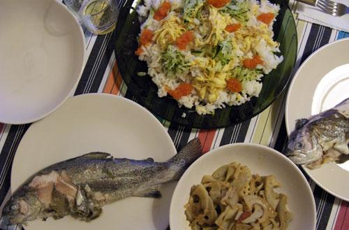 イタリアで鱒の夕食会