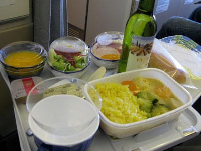 ローマ行きJALの機内食